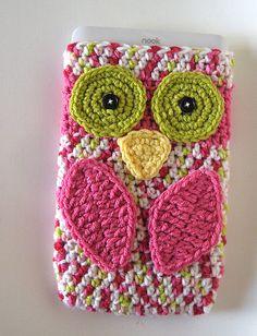 crochet pattern- owl Nook/ereader case i love the colors