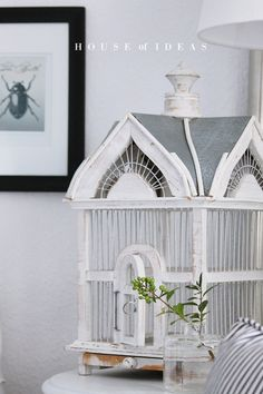 pretty white bird house