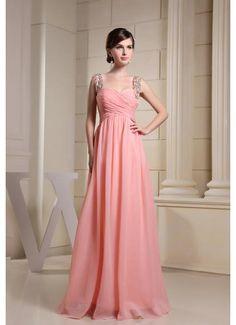 Chiffon A Line Criss Cross Peach Prom Dress with Straps £97.79