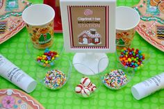 Gingerbread house decorating station. See more party ideas at CatchMyParty.com. #christmas