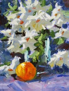 FLOWERS, FRUIT, COLORFUL IMPRESSIONIST STILL LIFE ORIGINAL OIL by TOM BROWN, painting by artist Tom Brown