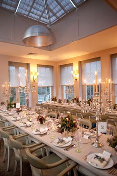 The dining room of Babington House decked out for the Thanksgiving Eve wedding dinner.