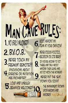 Man Cave Rules  Metal Sign 12 x 18 Inches, $29.98 #vintage #retro #nostalgia #tinsign #homedecor #pinup