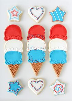 4th of July Ice Cream Cone Cookies from @glorioustreats
