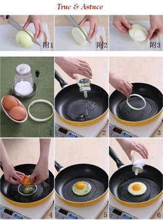 Existem forminhas próprias para deixar o ovo frito mais redondinho, porém, você pode fazer isso de uma maneira mais prática e natural, basta utilizar anéis de cebola! Simples assim! #DIY