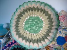 Vintage round crochet cushion