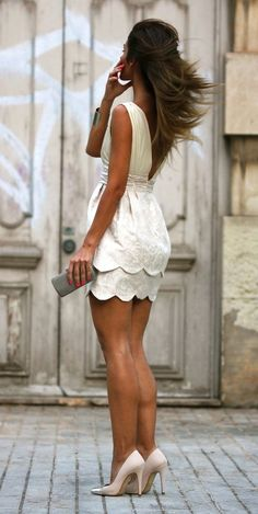 Low back, scalloped white dress for engagement parties/rehearsal dinner.