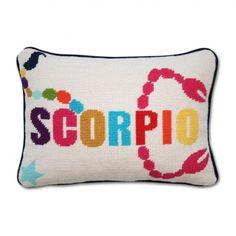 JONATHAN ADLER Scorpio Zodiac Needlepoint Pillow