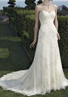 Sheath Chapel Train Lace Natural Waist Lace Wedding Dresses