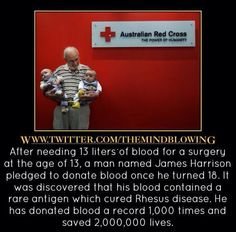 A real-life hero. hero, blood donor, interest, awesom random, random facts, golden arm, jame harrison, father, unbeliev fact