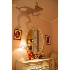 #DIY ideas for #kids #room  Peter Pan outline, cut out and put on top of lamp shade! -- not gonna lie, i'd probably put this in my room at 40.