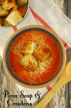 Pizza Soup with Homemade Croutons