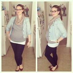 maternity style.  -gap maternity leggings  -target maternity tank  -gap shirt  -gap denim jacket  -thrifted infinity scarf #maternity #pregnancy #pregnant