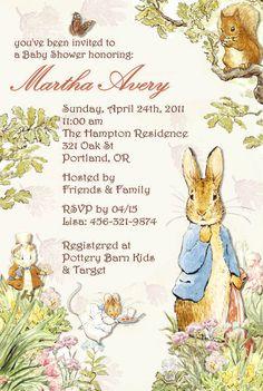 baby beatrix potter, beatrix potter shower, shower invitations, ebay, peter rabbit invitations, baby shower themes, babi shower, beatrix potter baby shower, baby showers