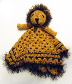 Lion Lovey CROCHET PATTERN  blankey blankie security blanket by Bowtykes