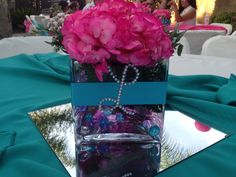 DIY center piece: $1 store vase, ribbon, and glue diamond letters #pink #teal theme