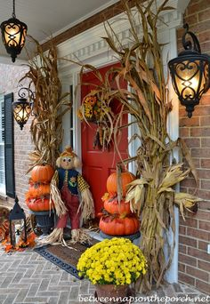 DIY fall front porch, love the colors and texture of this! We can help with this mums look great in pots outside the door, just make sure that you get them into the ground before the first frost. Then you get to enjoy them next year as they bloom for the fall weather! H&J Florist and Greenhouses of st Joseph MI 269-429-3621