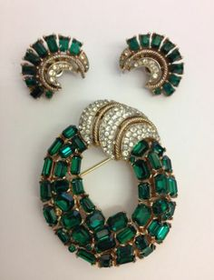 RARE Jeweled Brooch and Earring Set Trifari | eBay