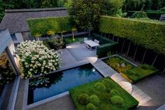 modern gardens, hedg, small pools, contemporary gardens, small spaces