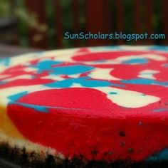 red, white, and blue brownie cheesecake
