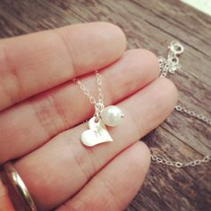 Dainty Pearl Heart Initial Necklace