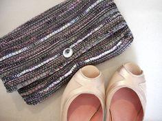 pochette soirée en tissu haute couture noir et violet, Fée Home, A Little MArket