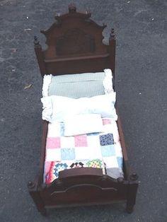 Antique Walnut Doll Bed Patchwork Quilt Pillows Mattress RARE No Reserve | eBay, paulid