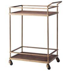 Threshold™ Wood and Brass Finish Bar Cart