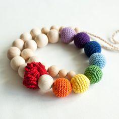 Nursing necklace / Teething necklace - Rainbow, Colorful