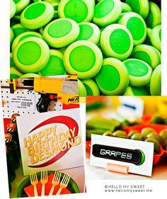 Sweet Parties: Foam Blaster Birthday Dessert Table www.hellomysweet.me #NERF #gun #printables #fun #boy #summer