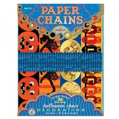 The Halloween Paper Chains craft kit comes with 120 paper links that combine to create a 24-foot chain.