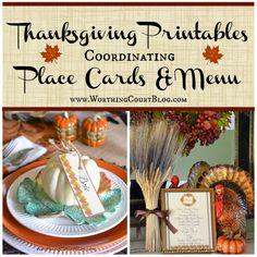 place card, fall meal, printabl