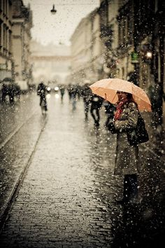 winter, autumn, pari, weather, red umbrella