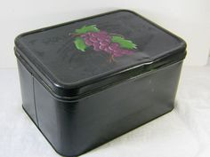 Vintage Black Bread Box with   Hand Painted Grapes   by LavenderGardenCottag etsy