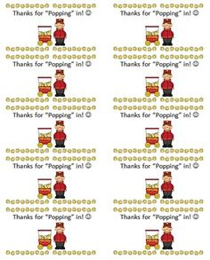 """Thanks for """"Popping In"""" treat for Open House/Conferences Freebie! Give a fun treat to your students and parents at open house, meet the teacher night, or at parent teacher conferences! These labels print 10 to a page on Avery 2""""x4"""" shipping labels. The product number is 8163. You can stick the labels right on a bag of microwavable popcorn!"""