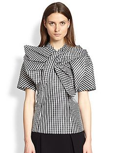 Marc by Marc Jacobs Gingham Asymmetrical Bow Top
