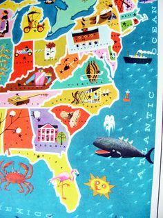 vintage children's map of USA