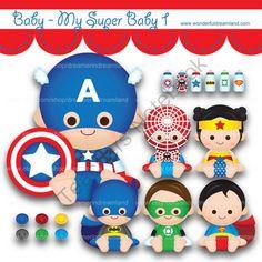 Printable Clipart Clip Art Digital PDF PNG File - Superhero Super Hero Super Baby Boy Girl 1 from Wonderful Dreamland on TeachersNotebook.com -  (2 pages)  - baby boy, baby girl, superhero,