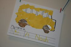 school bus fine motor activity school crafts, writing practice, school lessons, name writing, school buses, classroom themes, school themes, writing activities, back to school