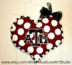 Cute to hang on the wall... Texas A & M Aggies School Spirit College Team Burlap Door Hanger Decoration Personalized Dorm Room. $35.00, via Etsy.
