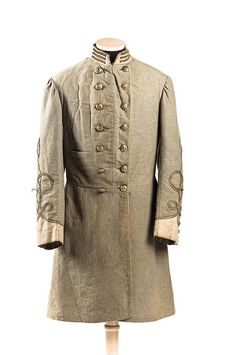 Uniform Coat worn by Captain Horace Hann Sams (Beaufort, SC) who served in the Confederate Army's Subsistence Department. He died in Confederate States General Hospital no. 12 at Greensboro, NC on May 6, 1865. Charleston Museum.    American Civil War