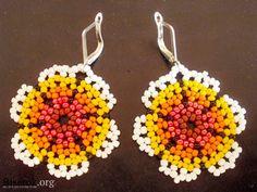 earrings, flowers from beads