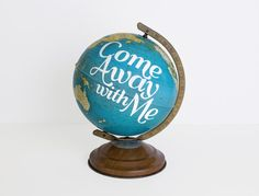 World Globe, 8in Vintage Repurposed, Wedding Decor, Travel Nursery, Wanderlust Quote, Blue, small globe
