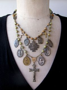 RESERVED Vintage Necklace Charm Necklace Rosary  A by rebecca3030, $165.00