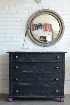Belen- Small black chest with papered feet. $425.00, via Etsy.