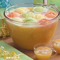 Party Punch--pineapple juice, orange juice, frozen limeade and lemonade concentrate, ginger ale and orange, lemon and lime sherbet..