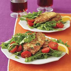 Easy dinner ideas: Pork Milanese - serve over arugula or spinach