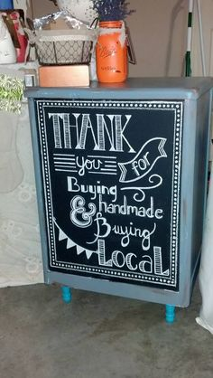 Eileen & Eloise Checkout Station for Front Porch & Company's Craft Show Booth #handlettered #chalkart #chalkboard #eileenandeloise