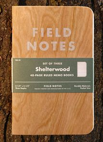 Field Notes Shelterwood Limited Edition.  New for spring of 2014 and sure to become a sought-after collectors item, the Field Notes Shelterwood limited edition 48 page ruled memo pad features covers made from sustainably harvested American Cherry Wood, sliced to a super-fine thinness and bonded to kraft paper for durability. Because this is a natural product, no two covers will ever be exactly alike. Three-pack for $9.95.