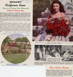 "Page from Germain's Flowers catalog, ca. 1948. Germain's grew acres of roses each year due to ideal climatic conditions in the San Fernando Valley. Promotional photo at top right shows Queen of the annual Fiesta at San Fernando Mission with a bouquet of prize-winning ""San Fernando"" roses from Germain's. Saint Francis Historical Society and San Fernando Mission Archives. San Fernando Valley History Digital Library."